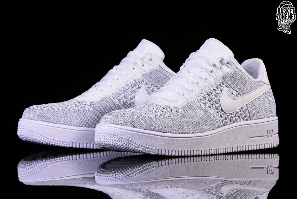 nike air force 1 flyknit low heren grey