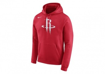NIKE NBA HOUSTON ROCKETS HOODIE CLUB LOGO UNIVERSITY RED