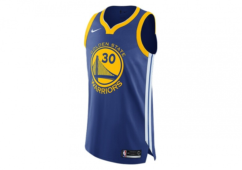 NIKE NBA GOLDEN STATE WARRIORS STEPHEN CURRY AUTHENTIC JERSEY ROAD RUSH BLUE