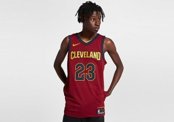 NIKE NBA CLEVELAND CAVALIERS LEBRON JAMES AUTHENTIC JERSEY ROAD TEAM RED