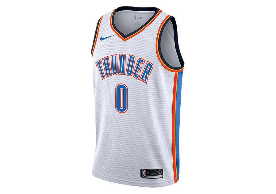 e40d2e914b2 NIKE NBA OKLAHOMA CITY THUNDER RUSSELL WESTBROOK SWINGMAN HOME JERSEY WHITE