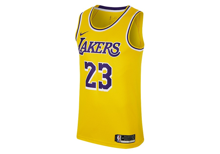 cedf39e1f400 NIKE NBA LOS ANGELES LAKERS LEBRON JAMES SWINGMAN ROAD JERSEY AMARILLO