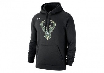NIKE NBA MILWAUKEE BUCKS LOGO CLUB FLEECE HOODIE BLACK