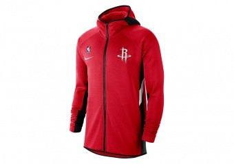 NIKE NBA HOUSTON ROCKETS THERMA FLEX SHOWTIME HOODIE UNIVERSITY RED