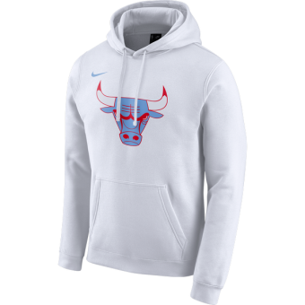 NIKE NBA CHICAGO BULLS CITY EDITION LOGO PULLOVER HOODIE WHITE