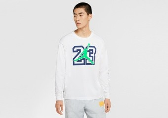 NIKE AIR JORDAN LEGACY AJ13 LONG-SLEEVE TEE WHITE