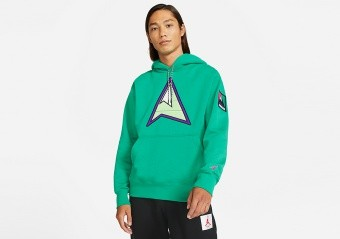NIKE AIR JORDAN WINTER UTILITY MOUNTAINSIDE FLEECE PULLOVER HOODIE NEPTUNE GREEN