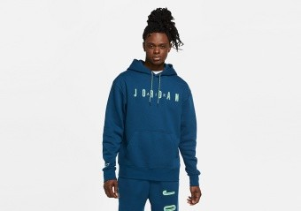 NIKE AIR JORDAN SPORT DNA HBR FLEECE PULLOVER HOODIE VALERIAN BLUE