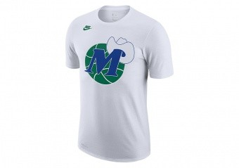 NIKE NBA DALLAS MAVERICKS CLASSIC EDITION LOGO DRI-FIT TEE WHITE
