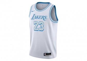 NIKE NBA LOS ANGELES LAKERS LEBRON JAMES CITY EDITION SWINGMAN JERSEY WHITE